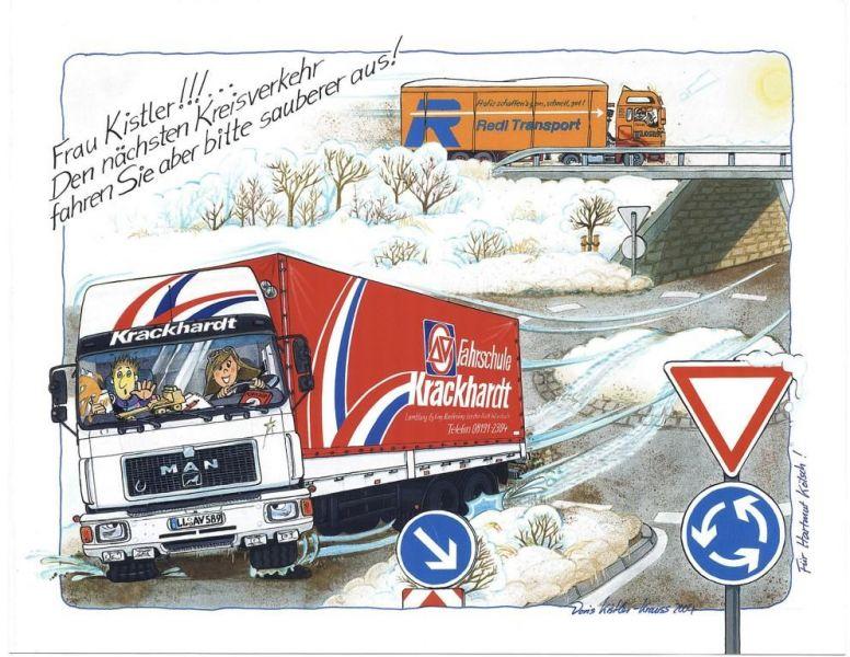 Cartoon LKW Führerschein